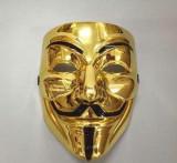 Masca Guy Fawkes / V for Vendetta - Anonymous plastic aurie, Masura unica, Negru