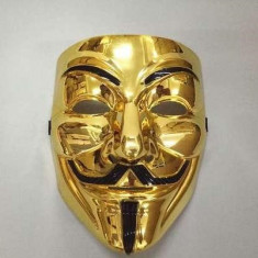 Masca Anonymous, V for Vendetta, Guy Fawkes, gold, petreceri, Halloween!