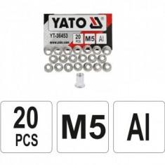 Set piulițe nituibile M5, 20 bucăți Yato YT-36453