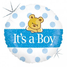 Balon botez baietel cu buline bleu si ursulet din folie 43cm