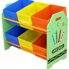 Organizator jucarii Copii Fun cu cadru din lemn Green Crayon