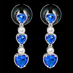 Cercei placati cu Aur 18K si Diamante, Calypso Platinum & Blue