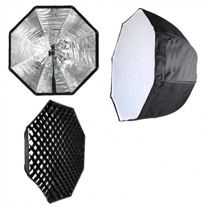 Softbox tip umbrela 80cm si grid