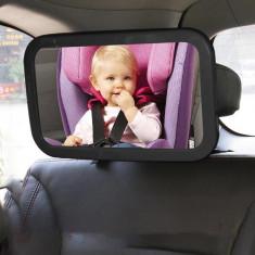 Oglinda auto supraveghere bebe, iluminata LED, cleme fixare