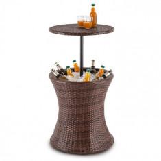 Blumfeldt Beerboy ,masă de grădină răcitoare băutură Ø50cm Polyrattan bicolor maro
