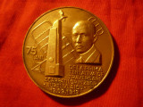 Placheta Aurel Vlaicu , revers TAROM ,bronz , d= 5cm