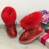 Ghete imblanite rosii tip clapari de iarna cizme pt fete copii 25  26 27