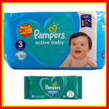 Scutece Pampers Nr 3 Active Baby Giant Pack, 6-10 kg, 90 Buc+Servete PAMPERS