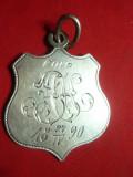 Breloc din argint (sau metal argintat-nu are marcaj) datat 1890 - monograma ,4cm