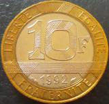 Moneda bimetal 10 FRANCI - FRANTA, anul 1992 *cod 796, Europa