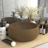 VidaXL Chiuvetă baie lux, crem mat, 40x15 cm, ceramică, rotund