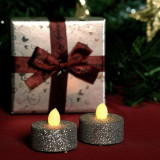 Candele iluminate LED intermitent, tip pastila, glitter, set 2 bucati