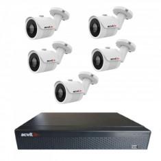 Kit de supraveghere format din 5 camere Acvil AHD EF30 4K 8 MP IR 20 m 2.8 mm + DVR AHD Acvil XVR5108FHD 8 canale 5 Mp