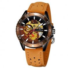 Ceas barbatesc Forsining, model sport, carcasa Skeleton maro, bratara din piele ecologica culoare maro, mecanism automatic, rezistent la apa 3ATM +