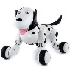 Robot Catel interactiv iUni Smart-Dog, telecomanda cu 24 comenzi, Alb-Negru