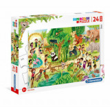 Cumpara ieftin Puzzle Maxi Super Color Gradina Zoologica, 24 piese