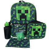 Ghiozdan Minecraft 41 cm , 5 piese : Penar,Lunch Box, Sticla, ORIGINAL, Unisex, Rucsac