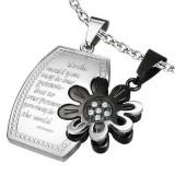 Pandantiv din oţel pentru cupluri - medalion și floare cu zircon