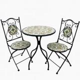 Set gradina masa si doua scaune din fier, model mozaic, pliabile