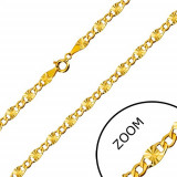 Lanț din aur 14K - zale plate, tăieturi stelare, zale hexagonale, 450 mm