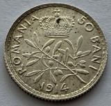 50 Bani 1914 Bruxelles, Argint, Romania, a UNC
