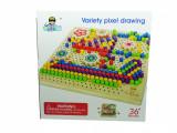 Joc tip mozaic cu pioneze din lemn, 30 cm, varsta 3 ani+, 2-4 ani, Unisex