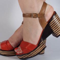 Sandale rosii piele naturala (cod 2027-3), 40