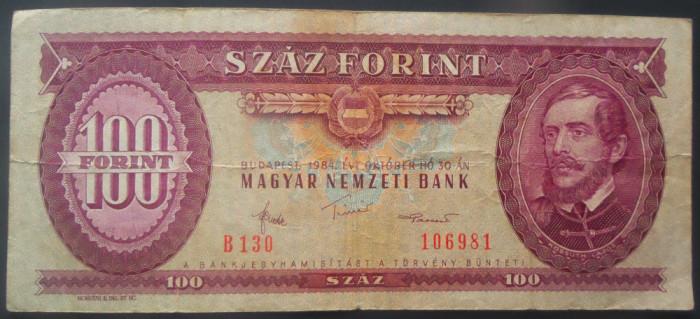 Bancnota 100 FORINTI - UNGARIA, anul 1984 *cod 899