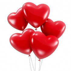 Baloane inimioare rosii 25cm set 100 buc