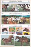 DB1  Fauna Domestica Cai de Rasa Angola 3 MS + 2 SS  MNH, Nestampilat