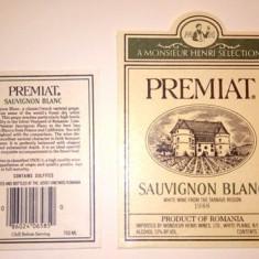 eticheta veche romaneasca Preniat Sauvignon Blanc Jidvei '88