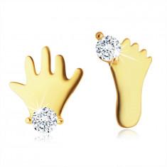 Cercei din aur 9K - o siluetă a unui picior mic și a unei mâini cu zirconiu clar