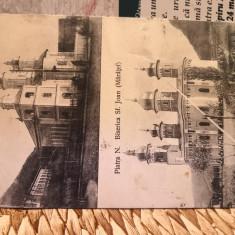 Carte postala Piatra Neamt_ 1912_Biserica Trei Erarchi_Sf. Joan (Maratei), Circulata, Printata, Piatra Neamt