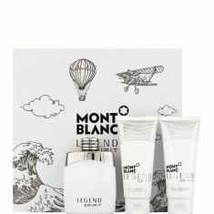 Set cadou Mont blanc Legend Spirit (Apa de toaleta 100 ml + Balsam after shave 100 ml + Gel de dus 100 ml), Pentru Barbati