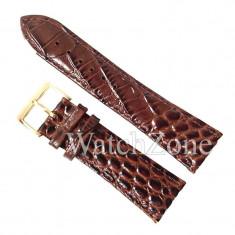 Curea ceas 24mm Maro Imprimeu Crocodil NAGATA