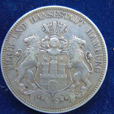 Moneda argint 5 Mark 1903 J, Hamburg