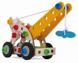 Set de construit Eichhorn cu piese din lemn de fag macara, avion elicopter si tricicleta 65 piese