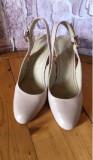 Pantofi piele bej, 37, 38, Cu toc