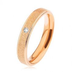 Inel din oţel 316L, nuanţă arămie, dungă sablată convexă, zirconiu - Marime inel: 49