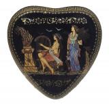 Cutie de bijuterii in forma de inima, 13x13x5 cm, Lucrata manual, Foita de Aur 24k Cod Produs 526
