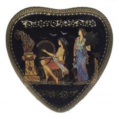 Cutie de bijuterii in forma de inima 13x13x5 cm Lucrata manual Foita de Auriu24k Cod Produs 526