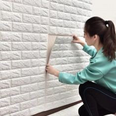 Tapet 3D Alb design perete modern din caramida, cu Autoadeziv ,77x70 cm, MyStyle