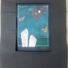 Gravura in lemn, colorata// grafica contemporana