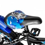 Bicicleta baieti Rich Baby R14WTA 14 inch cu roti ajutatoare si led 3-5 ani negrualbastru