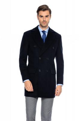 Palton barbati bleumarin la doua randuri de nasturi B171 foto