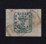 CAP DE BOUR EMISIUNEA II 1858 - 40 PARALE ALBASTRU VERZUI PE HARTIE ALBASTRUIE, Stampilat