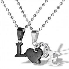 Set Pandantive Medalioane Lantisoare Cuplu Indragostiti Love Inox Black