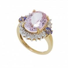 Inel din aur 14K, kunzit, tanzanite si diamante naturale, circumferinta 53 mm