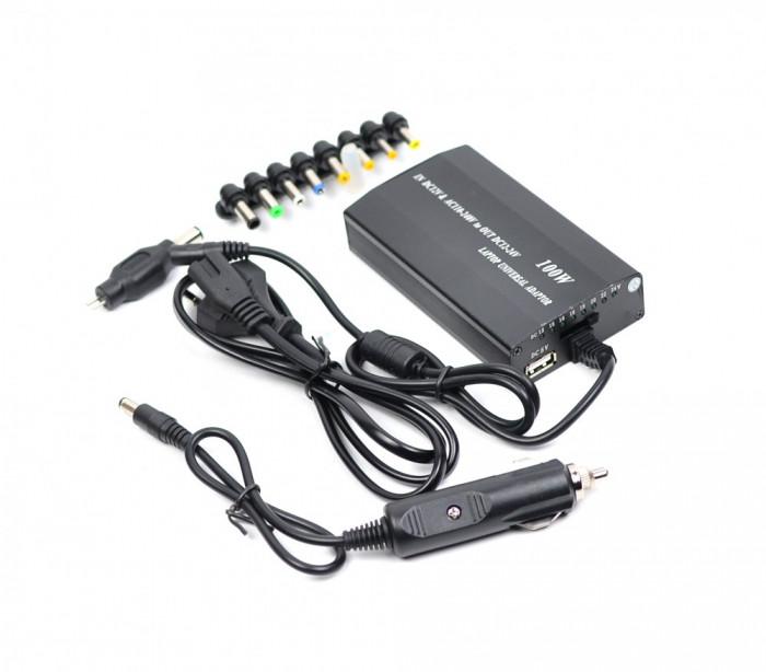 Incarcator universal laptop pentru auto si priza 9 conectori si USB - DC9