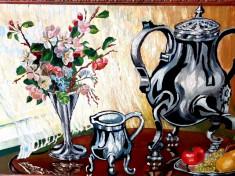 Tablou - pictura veche ulei - natura statica - rama frumoasa foto